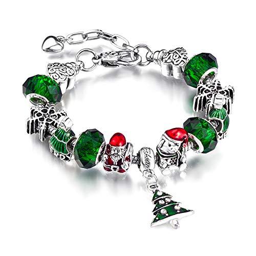 Gespout Femme Bracelet Ajustable Série de Noël Charme Décorations de Poignet Anniversaire Mariage Noël Valentin Idéal Bijoux Cadeau pour Petite Amie Famille Ami (Vert)