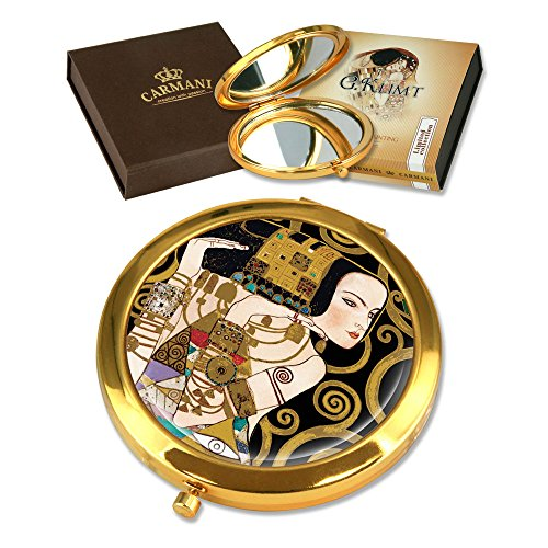 CARMANI - Plaqué Or Bronze Poche, Compact, Voyage, Miroir décoré avec de la Peinture de Klimt 'Attente'