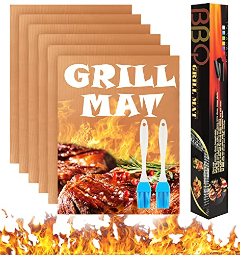 Attmu Copper Grill Mats for Outdoor Grill Set of 6, Non - Stick BBQ Grill Mat, Safe and Reusable Fiberglass, Endure High Temperatures Baking Sheets - Work on Electric Grill Gas Charcoal - 15.75' x 13'