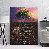 (Con marco) Lienzo de pared, imágenes artísticas, carteles e impresiones de árboles de éxito, lienzo HD, decoración de habitación, lienzo, pintura, portada de revista, impresión artística-40x60cm