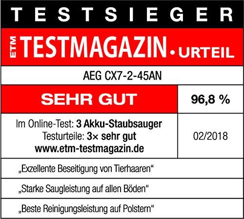AEG Ergorapido CX7-2-45AN 2in1 Akku-Staubsauger (beutellos, inkl. Tierhaardüse, bis zu 45 Min. Laufzeit, freistehend, 180° Drehgelenk, Bürstenreinigungsfunktion, LED-Frontlichter, rot) - 4