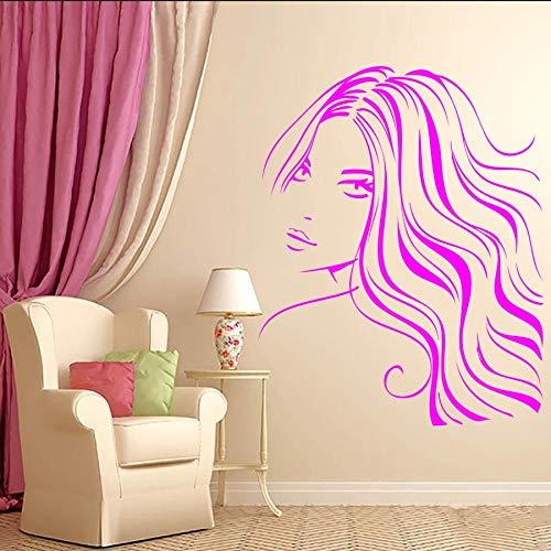 Tianpengyuanshuai Meisjes Mooi haar Barbier muur Decoratie Sticker Woonkamer Vrouwen gezicht Kunstst Muurtattoo