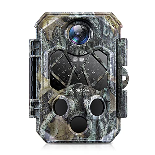 COCOCAM Wildkamera Fotofalle 4K 32MP mit Bewegungsmelder Nachtsicht Low-Glow Infrarot-LEDs Jagdkamera 0.2s Auslösezeit 120° Weitwinkel Wildtierkamera, Unterstützt 512GB SD-Karte, IP66 Wasserdich