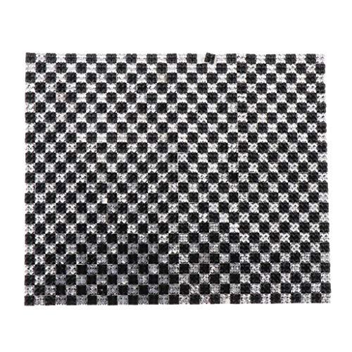 MagiDeal 1/12 Puppenhaus Zubehör Selbstklebende Mosaik Tapete / Fliesen / Bodenbelag, 16 x 10cm - Schwarz