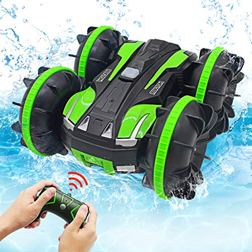 Seckton Car Toys for 6-10 Year Old Boys Amphibious Remote Car for Kids 2.4 GHz Remote Control Boat 4WD Off Road Truck Stunt Car Waterproof RC Car for Birthday Gifts Water Beach Pool Toy Green