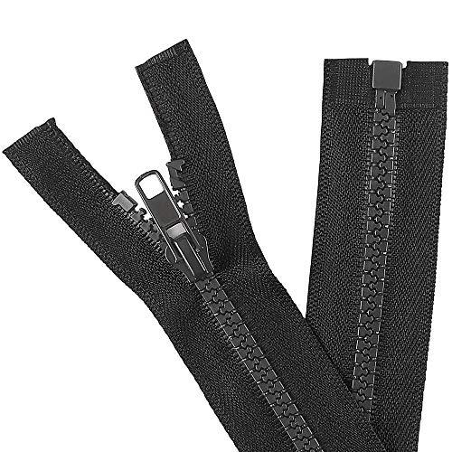 KVLUAY 2PCS #5 6 Inch Separating Jacket Zippers for Sewing Coats Jacket Zipper Black Molded Plastic Zippers Bulk