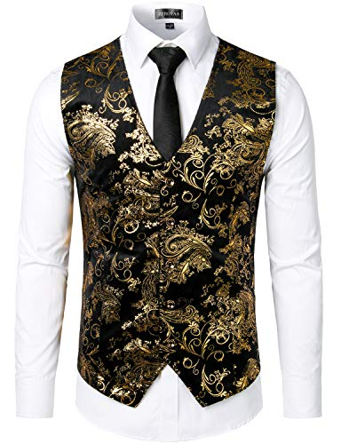 ZEROYAA Mens Hipster Gold Paisley Single Breasted Suit Dress Vest/Tuxedo Waistcoat Z49 Gold X Large