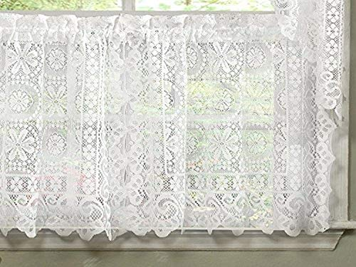 """Sweet Home Collection Old World Style Floral Heavy Lace Kitchen Curtain, 36"""" Tier, Hopewell White"""