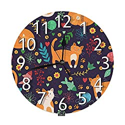 SSOIU Cute Cats Wall Clock,Brown Kitten Kitty pet Animal Fish Flower Floral Colorful Silent Non-Ticking Round Wall Clock Battery Operated for Home Office School Decorative Clock Art