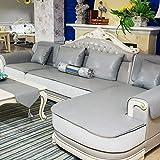 LH Funda de sofá de Cuero sintético, Fundas seccionales Fundas de sofá Impermeables for Mascotas Protector de Muebles Antideslizante (Color : Gray, Size : 90x150cm)