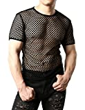 JOGAL Men's Mesh Fishnet Fitted Short Sleeve Muscle Top X-Small WG02 Black