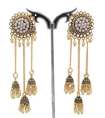 Ohrringe für Damen, Sonnenblume, Jhumka-Gold, oxidiert, Bollywood-Stil, Pakistanische Kette, Glocke, weiße Perlen, Jhumka-Ohrstecker für Mädchen, Damen, Ohren, Schmuck