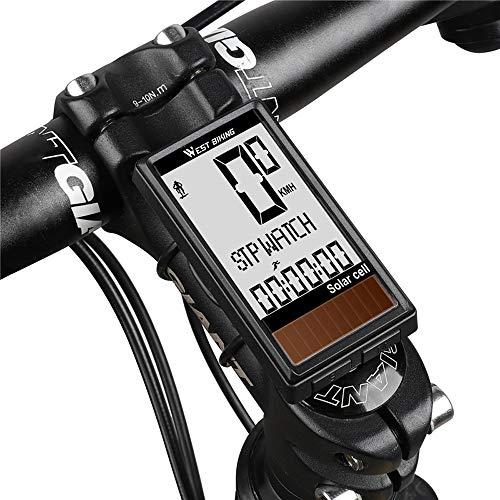 Lixada Computadora de Bicicleta Inalámbrico Impermeable Célula Solar 5 Idiomas Encendido/Apagado Automático...