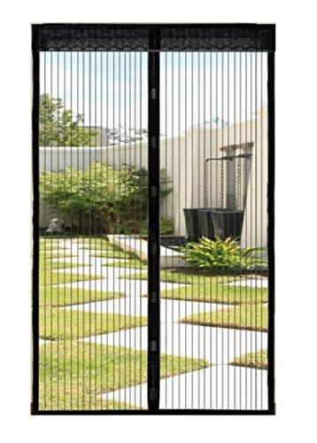 Magnetisches Fliegengitter für Fenster, Türen, Türen, Vorhänge, Klettverschluss, gegen Insekten, Fliegen, Mücken, Netze, anpassbar, Farbe: Schwarz, 210 x 80 cm