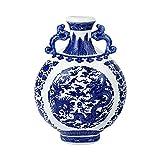 fanquare Florero de Porcelana Azul y Blanca, Jarrón Binaural Clásico, Jarrón con Diseño de Dragón Chino, Altura 31cm