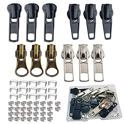 Zipper Pull 12 Pcs, Replacement Zipper Slider,Zipper Repair Kit #5, Fix Zipper Repair Kit for Repairing Coats,Jackets, Metal Plastic and Nylon Coil Zippers.