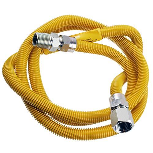Supplying Demand 203-3132 - Manguera de gas para secadora con accesorios compatibles con conexiones de manguera de 1/2 pulgada MIP x 1/2 pulgada FIP, 1,82m