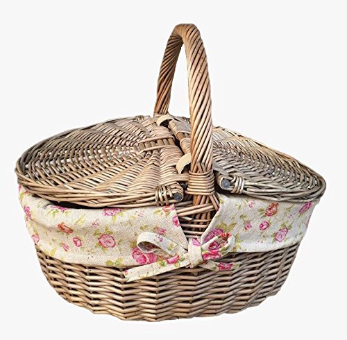 Red Hamper Wicker Willow Antique Wash Finish Wicker Rose Lined Oval Picnic Basket