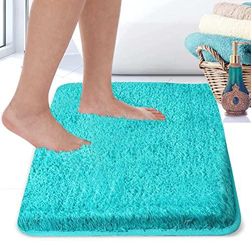 RiyaNed Rutschfester Badezimmerteppich, Saugfähiger Weicher und Flauschiger Badematte, Duschteppiche für Badewanne, Dusche und Bad, Maschinenwaschbar, Leicht zu Reinigen (Sapphire Blue, 60x90cm)