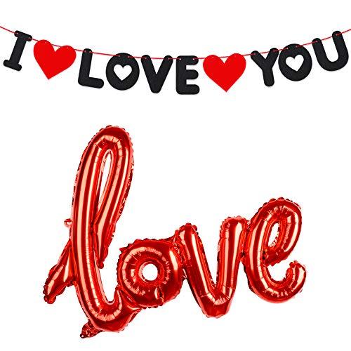 Guirnalda Fieltro I Love You Banner con 2 Corazones Globos Amor Love Banderín Te Quiero Decorativa Colgante para Fiesta de San Valentín Compromiso Propuesta de Matrimonio Boda Aniversario