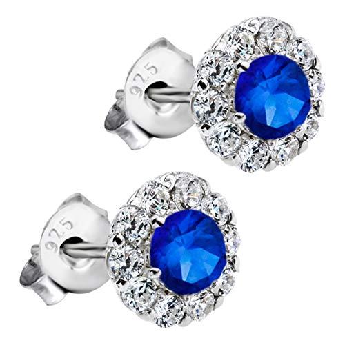 Lotus JLP1290-4-2 - Pendientes de plata de ley 925 con circonitas azules para mujer