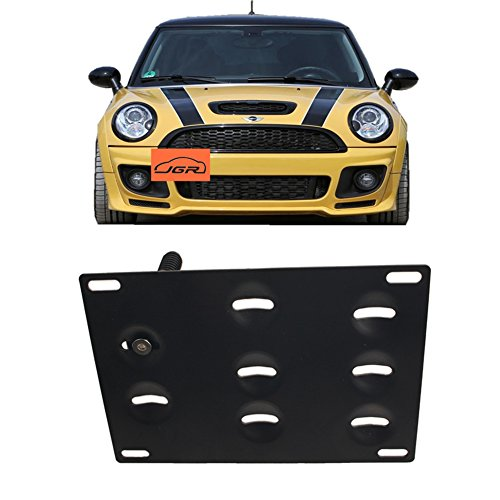 JGR No Drill Tow Eye Front Bumper Tow Hook License Plate Mount Bracket Holder Adapter Relocation Kit for Mini Cooper R50 R52 R53 R55 R56 R57 R58 R59 2002-2014