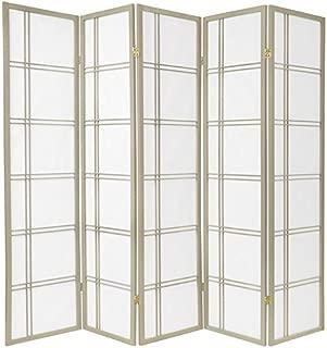 Oriental Furniture 6 ft. Tall Double Cross Shoji Screen - Special Edition - Grey - 5 Panels
