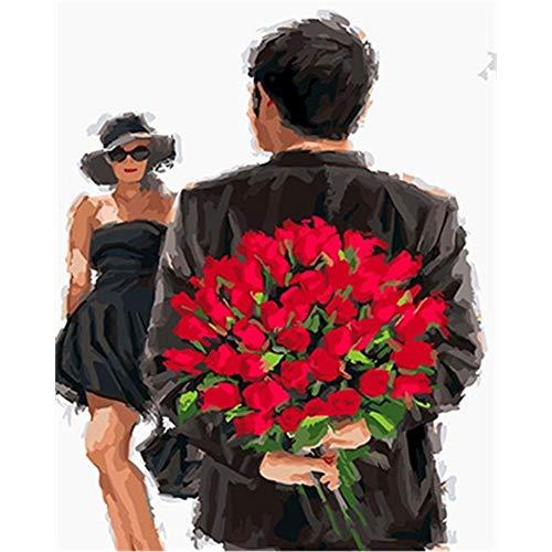 Preisvergleich Produktbild Xyywqybg Malen Nach Zahlen Kit,  Diy Ölgemälde Zeichnung Valentinstag Blumen Leinwand Mit Pinsel Dekor Dekorationen Geschenke-60X75Cm,  Frameless