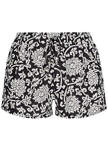 Hailys Damen lockere Shorts 2 Taschen Florales Muster, schwarz Weiss, Gr:XXL