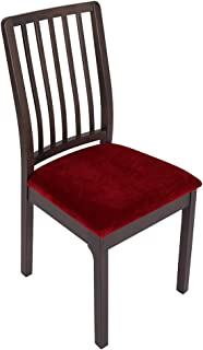 Best Soft Velvet Stretch Fitted Dining Chair Seat Covers, Removable Washable Anti-Dust Dining Room Upholstered Chair Seat Cushion Cover Kitchen Chair Protector Slipcovers with Ties - Set of 6, Burgundy Review