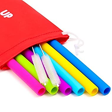 Big Reusable Straws for Smoothies and for 30 oz Tumbler Yeti/Rtic - 6 Straight Wide Reusable Straws + 2 Brushes + 1 Red Storage Pouch - Reusable Drinking Straws Set - Silicone Straws Bundle