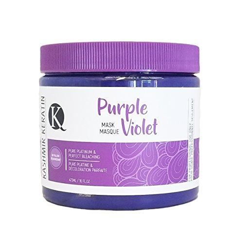 Mascarilla para el cabello con queratina de cachemira, morada, violeta, luces brillantes, 16 onzas