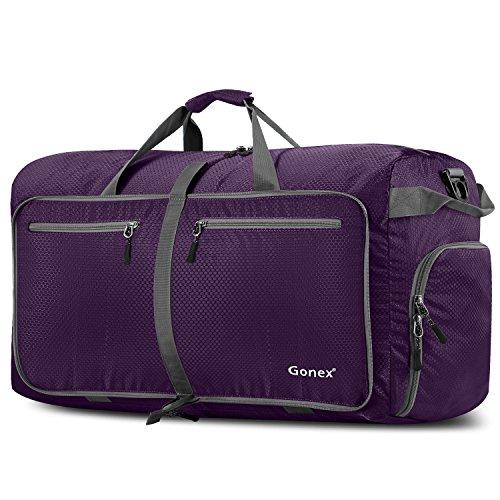 Gonex - Bolsa de Equipaje/Viaje de Duffel Plegable Impermeable y Resistente 100L Travel Bag para Viaje/Deporte Violeta
