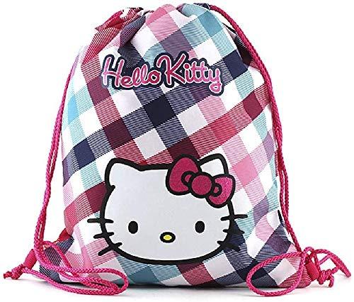 Hello Kitty Cabas de Fitness 40 cm Multicolore (Rose/Blanc/Bleu Clair/Vert)