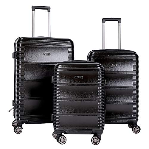 BRONCO POLO Expandable Suitcase Set 3 Pieces Hard Shell Luggage Set with Spinner Wheels and Built in TSA Lock - 20' 24' 28' (Black)