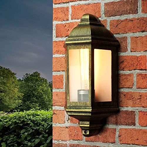 Rustikale Wandleuchte in antikgold inkl. 1x 12W E27 LED Wandlampe aus Aluminiumdruckguss für Garten Terrasse Weg Lampe Leuchten außen