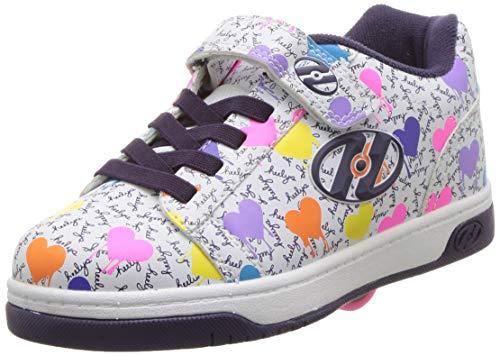 Heelys Girls' Dual Up X2 Tennis Shoe, White/Multi Heart/Drip, 5 M US Little Kid