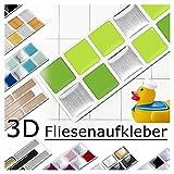 Grandora 7 Adhesivos 25,3 x 3,7 cm Verde Claro Pista Plateado Etiqueta Adhesiva Design 9 I 3D Diversidad lámina para Azulejos y baldosas Cocina de baño Pegatina de Pared decoración de Azulejos W5288