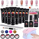 Ongles Gel Kit, MYSWEETY 15 ml 8 Couleurs Gel Vernis à Ongles Prolongateur Complet, avec 6W Lampe...