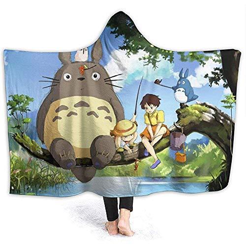 Niet van toepassing Hooded Deken Anime Mijn Buurman Totoros Gooi Dekens Sherpa Fleece Draagbare Knuffel Warm Zachte Hooded Dekens voor Volwassenen Mannen Vrouwen 60 x 50 Inches