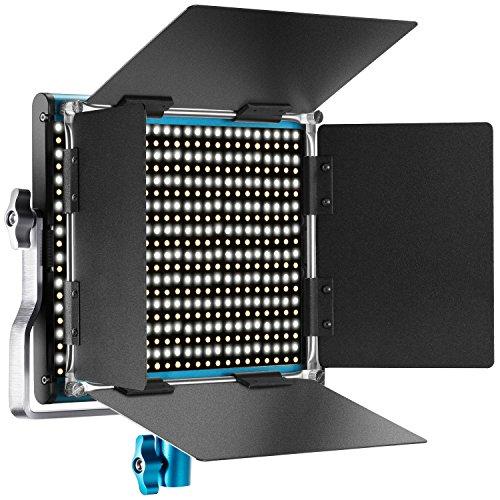 Neewer Luz de vídeo LED Bicolor de Metal, Marco de Metal Regulable, 660 Perlas con Soporte en U y Barndoor 3200-5600 K CRI 96+ para Estudio Youtube, fotografía de Productos, grabación de vídeo (Azul)