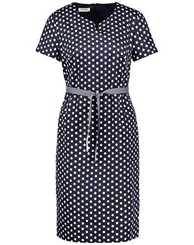 Gerry Weber Damen Kleid Mit Punktedessin Figurumspielend Navy/Ecru 44