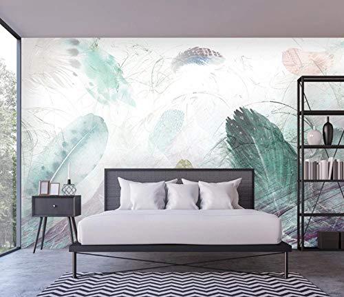 Fototapete Tapete Vlies Tapeten Vliestapete Farbige Feder Wandtapete Moderne Wandbild Wand Schlafzimmer Wohnzimmer 200cm x 150cm