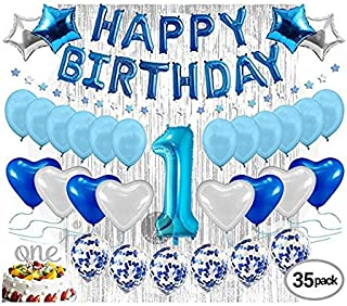 1st Birthday Decoration For Baby Boy First Birthday Decoration Balloon, Party Supplies Kit, Banner, Confetti Balloons, Num...