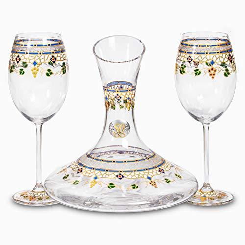 Sadurní-Ràfols Juego de Vino con Decantador y Dos Copas Estilo Gaudí