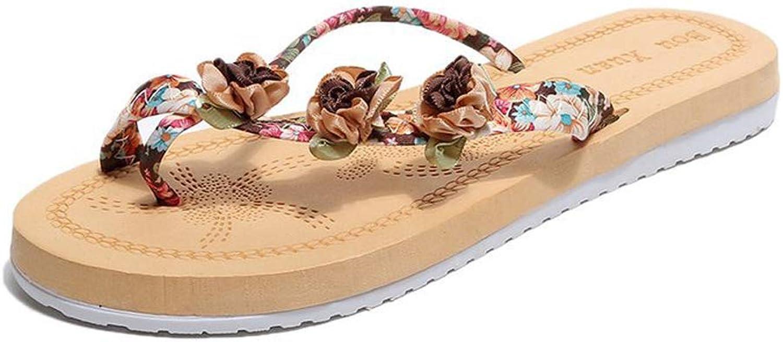 Women's Flat Sandals,Bohemian shoes Ladies Slip on Flower Hemp Rope Clip Toe Flip Flops