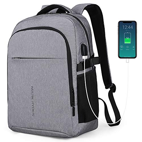 Mark Ryden 2019 New Professional Business Backpack for Men Multifunctional Water-Repellent fit 15.6 inch Laptop Bag Man with USB Charging for School Travel Bag (1.0 Grey)