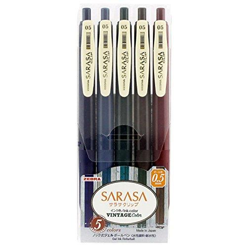 Zebra gel ball pen sarasa clip 0.5 vintage 5 colors JJ15-5C-VI Japan