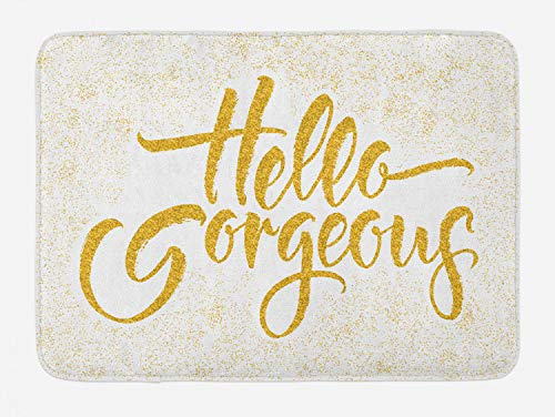 Ambesonne Hello Gorgeous Bath Mat, Calligraphy Words Brush Lettering on Graphic Sprayed Color, Plush Bathroom Decor Mat with Non Slip Backing, 29.5' X 17.5', Earth Yellow
