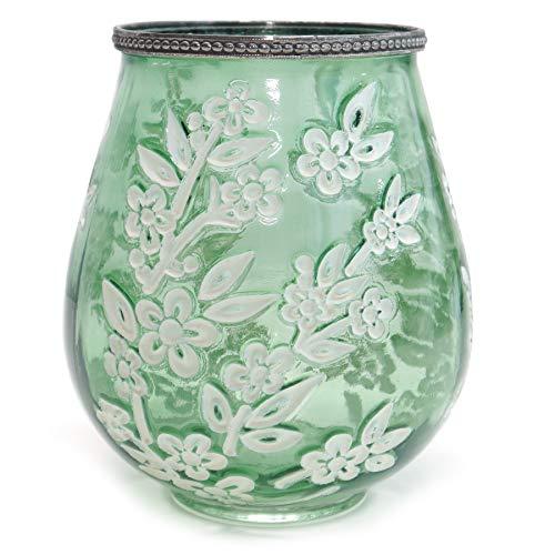 Voß Windlicht Glas 'Sakura' Kerzenhalter Grün Weiß mit Blüten Vintage Landhaus Dekoration